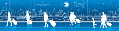 expect: Airport terminal, aircraft on runway, airplane takeoff, aviation scene, people expect flight, transportation infrastructure on background, vector design art Illustration