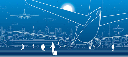 effectiveness: Airport scene. The plane is on the runway. Aviation transportation infrastructure. Airplane fly, people get on the plane. Night city on background, vector design art