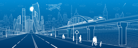 Railway bridge over highway. Urban infrastructure panorama, modern city on background, industrial architecture. Train rides. Airplane fly. People walking. White lines, night scene, vector design art