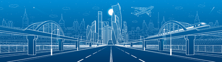 Railway bridge over wide highway. Urban infrastructure panorama, modern city on background, industrial architecture. Train rides. Airplane fly. White lines illustration, night scene, vector design art