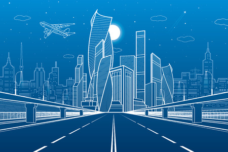 Wide highway. Urban infrastructure illustration, futuristic city on background, modern architecture. Airplane fly. White lines on blue background, night scene, vector design art Vetores