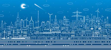 Night city scene, urban infrastructure illustration, modern skyline town, white lines on blue background, vector design art