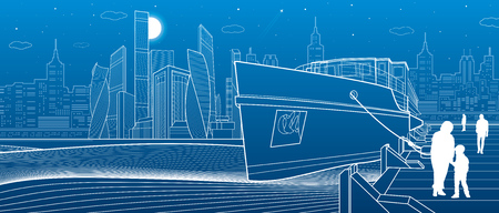 Ship on the river. People are walking on the pier. Modern city in the background. White lines infrastructure illustration. Vector design art Illustration