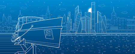 city lights: Ship on the river. Modern city in the background. White lines infrastructure illustration. Vector design art