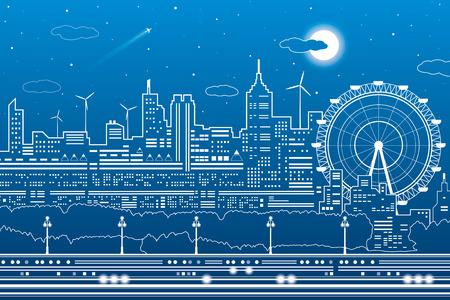 Night city scene, town infrastructure illustration, ferris wheel, modern skyline, white lines on blue background, vector design art