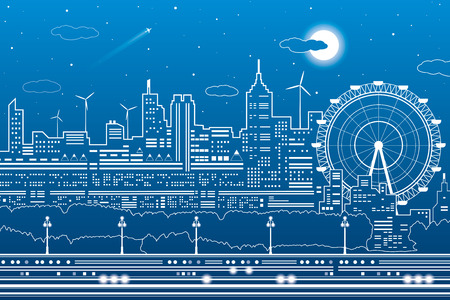 Night city scene, town infrastructure illustration, ferris wheel, modern skyline, white lines on blue background, vector design art