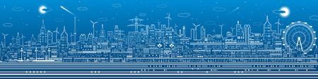 city lights: Night city panorama, town infrastructure illustration, ferris wheel, modern skyline, white lines on blue background, vector design art