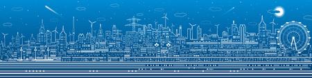 Night city panorama, town infrastructure illustration, ferris wheel, modern skyline, white lines on blue background, vector design art Vetores