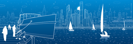 city lights: Ship on the river. People are walking on the pier. Yachts on the water. Modern city in the background. White lines infrastructure illustration. Vector design art