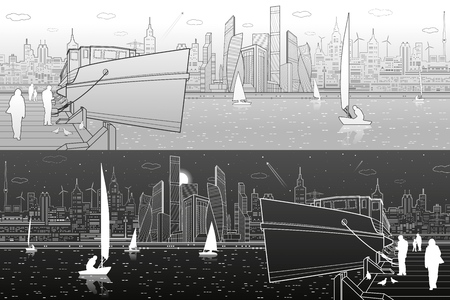 Ship on the river. People are walking on the pier. Yachts on the water. Modern city in the background. Transportation infrastructure illustration. Vector design art