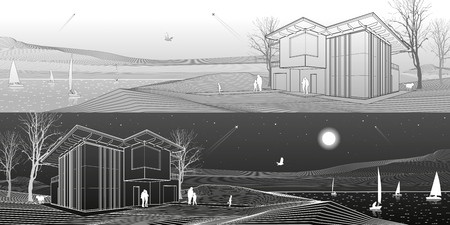 children silhouettes: Modern house, people walking on sea shore. Boats on the horizon. Mountains on background. Architecture and nature panorama, day and night scene, white lines, vector design art Illustration
