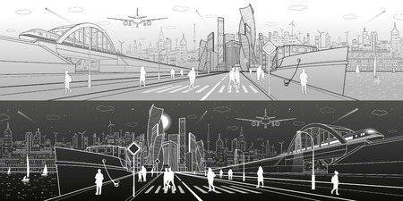 City infrastructure panorama. Ship in the port, railroad bridge, train rides, modern city in the background, people walk along the embankment. Light and dark lines, vector design art Illustration