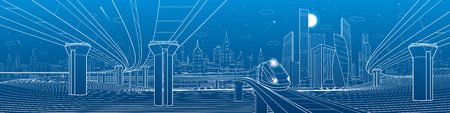 city lights: Infrastructure panorama. Road overpass. Transportation bridge. Train rides. Towers and skyscrapers. Urban scene, modern city on background, industrial architecture. White lines, vector design art Illustration