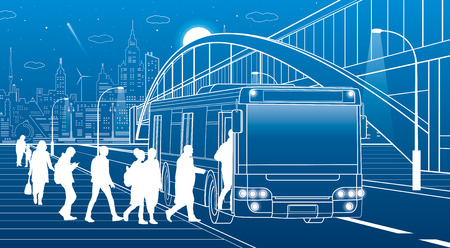 People get off the bus. Pedestrian arch bridge. City transport infrastructure, modern town in background. White lines, night scene, vector design art Illustration