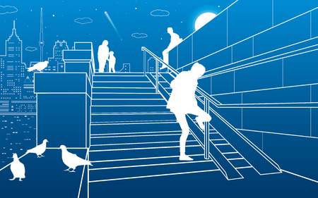 city lights: Stairs on the river embankment, people on steps. Doves are sitting on parapet. Evening city on the background, vector design art