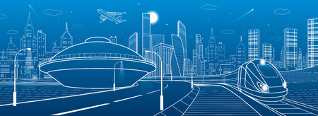 Infrastructure and transportation panoramic. Train rides. Empty highway. House in the form of a UFO. Towers and skyscrapers. Urban scene, modern city on background. White lines, vector design art