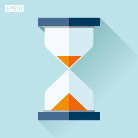 seconds: Hourglass icon in a flat style, sandglass on a blue background. Vector design element for you project