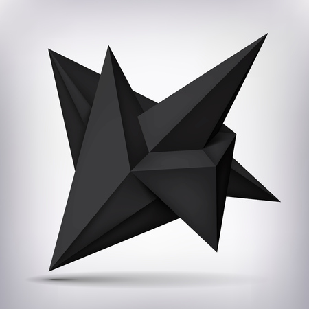 unreal: Volume geometric shape, 3d levitation black crystal, creative low polygons dark object, vector design form.