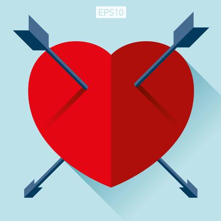컬러 백그라운드에 플랫 스타일의 심장 아이콘입니다. 센터에서 두 개의 화살표입니다. 벡터 디자인 요소