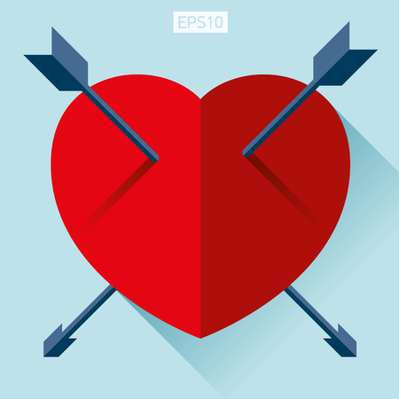 Heart icon in flat style on color background. Two arrow in the center. Vector design element