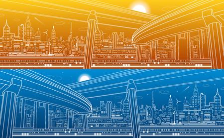 Transportation overpass bridge, urban infrastructure, modern city on background, vector design art, day and night Illustration