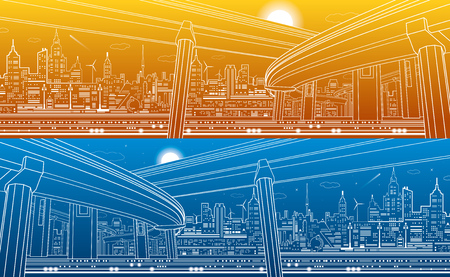 automotive industry: Transportation overpass bridge, urban infrastructure, modern city on background, vector design art, day and night Illustration