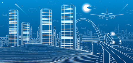 Train move on the bridge, mountains, night city on background, towers and skyscrapers, infrastructure and transport illustration, airplane fly, white lines, vector design art