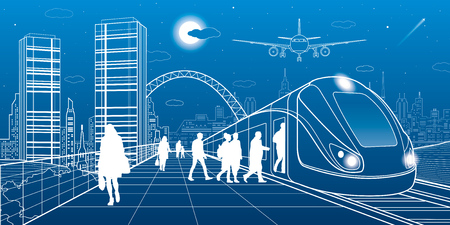 city lights: City and transport illustration. Passengers get on train, people at station. Airplane fly. Modern town on the background, towers and skyscrapers. White lines. Vector design art