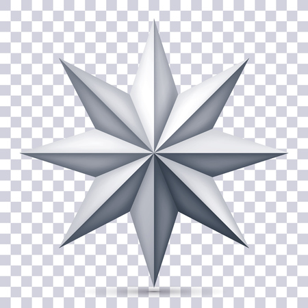 Volume eight-pointed gray star on transparent background, 3d object, geometry shape, mesh version, vector object for you project