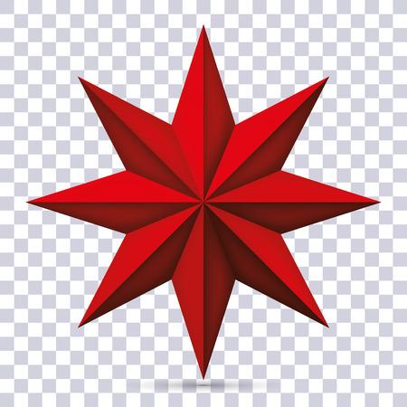 De acht-gerichte rode ster van het volume op transparante achtergrond, 3d voorwerp, meetkundevorm, netwerkversie, vectorvoorwerp voor u project