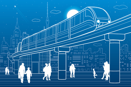 city lights: Monorail railway. Train move over the flyover. Modern night city at back. Futuristic urban and transport illustration. Airplane fly. White lines on blue background, vector design art