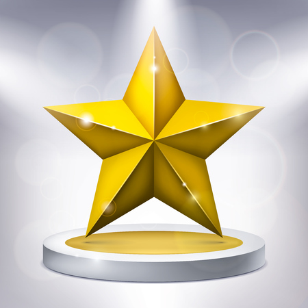 Gold five-pointed star on the illuminated podium, award-winning pedestal, geometry shape, vector design for you project