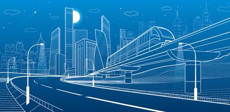 Monorail railway illustration. Ilustração