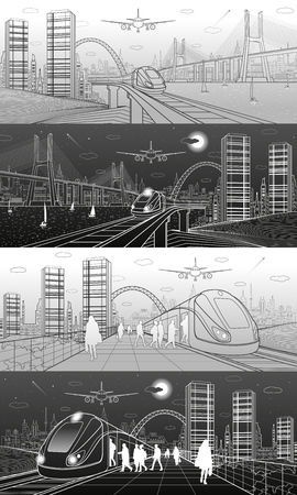 city lights: City and transport illustration set. Passengers get on train, people at station. Airplane fly. Modern town on the background, towers and skyscrapers. Big bridge. White and gray lines. Vector design art