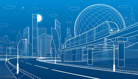 City infrastructure and transport illustration. Monorail railway. Train move over flyover. Spherical building. Modern night city. Airplane fly. Towers and skyscrapers. White lines. Vector design art Zdjęcie Seryjne - 84220441