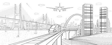 Illustrazione dell'infrastruttura e del trasporto. Spostare treno sulla ferrovia. Aeroplano vola. Grande ponte con cavo. Moderna città notturna, torri e grattacieli. Linee nere su sfondo bianco. Arte di disegno vettoriale