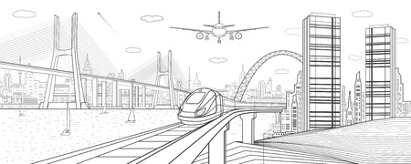 Infrastructure and transport illustration. Train move on railway. Airplane fly. Big cable-stayed bridge. Modern night city, towers and skyscrapers. Black lines on white background. Vector design art Ilustracja
