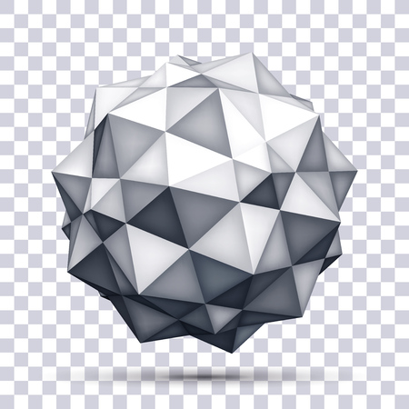 Volume polyhedron gray star on transparent background, 3d object, geometry shape, mesh version, abstract vector element