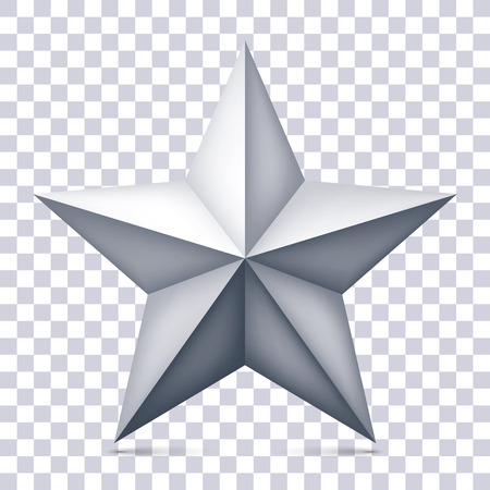 Volume five-pointed gray star on transparent background, 3d object, geometry shape, mesh version, vector object for you project