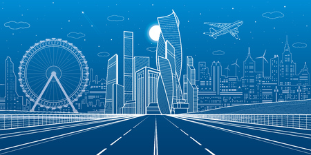 Wide highway. Urban infrastructure illustration, futuristic city on background, modern architecture. Airplane fly.