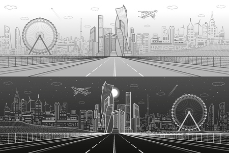 Wide highway. Urban infrastructure illustration panorama, futuristic city on background, modern architecture, ferris wheel. Airplane fly. White and gray lines, day and night scene, vector design art. Illusztráció