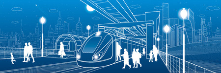monorail: Infrastructure and transport panorama. Monorail railway. People walking under flyover. Train move. Illuminated platform. Modern night city. Towers and skyscrapers. White lines. Vector design art Illustration