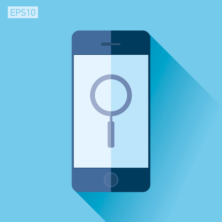 Smartphone in flat style, phone icon on color . Search loupe, magnifying glass. design object design object for you project
