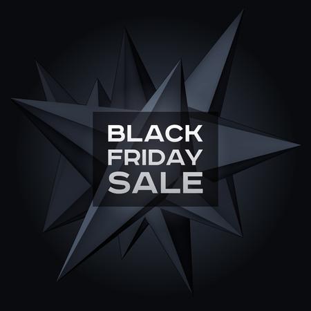 Black Friday Sale. Volume geometric shape, 3d levitation black crystal, creative low polygons dark object, vector design