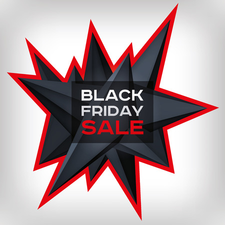 Black Friday Sale. Volume geometric shape, 3d levitation black crystal, creative low polygons dark object. Red lightning. vector design form for you business projects