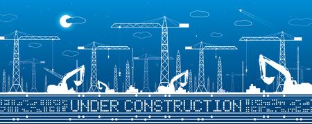 Under construction illustration. Development panorama, industrial landscape, building cranes, excavators, vector lines design art