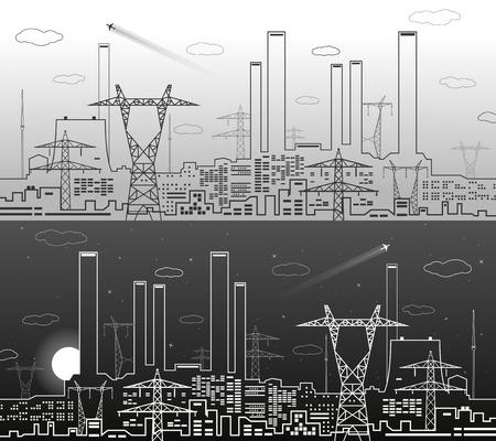 Vector lines power plant, energy lines, industrial vector design, dark and light background, urban illustration Vetores
