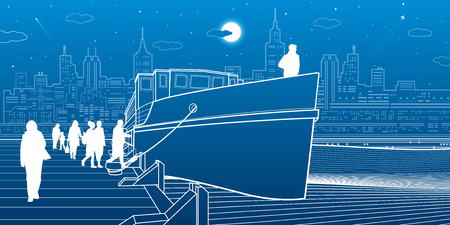 Ship at the water. People get on the boat. City life. Modern town in background. White lines transport illustration. Blue background. Vector design art