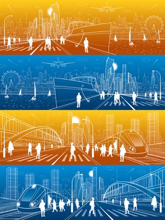 Conjunto de ilustración de vida de la ciudad