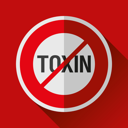 Warning sign, stop toxin icon in flat style, vector design